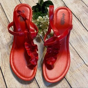 Charlotte Russe ROSE RED WEDGE SANDALS HEELS